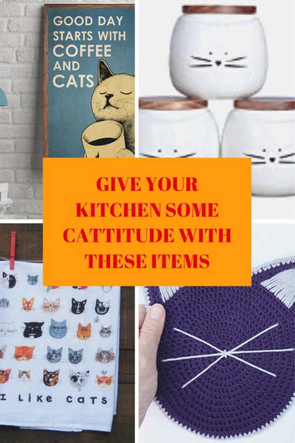 Collage featuring 4 cat themed kitchen decor items.